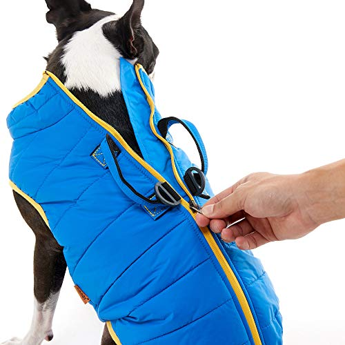 Gooby Padded Dog Vest Lift - Blue, X-Small - Dog Jacket Coat with Handle and D Ring Leash - Small Dog Sweater with Zipper Closure - Dog Clothes for Small Dogs Girl or Boy for Indoor and Outdoor Use