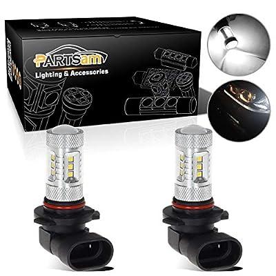 Partsam 9005 9145 HB3 LED Fog Light Bulbs 5-2323-SMD White 80W High Power Fog Lights Replacement for Cars, Trucks