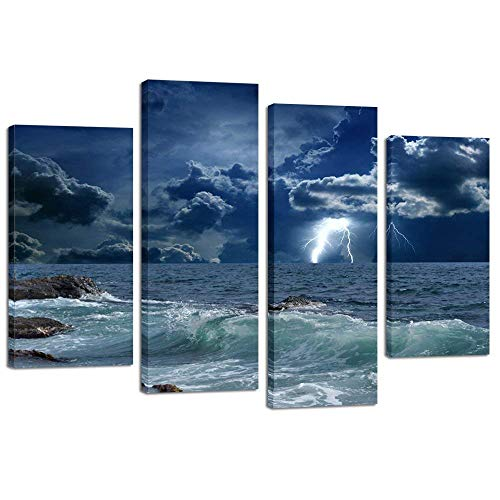 Kreative Arts 4 painéis, grande estampa de paisagem marinha Lightning on Storm Ocean Picture em tela, arte giclée, trabalho para decoração de home office, vento selvagem e ondas enormes, decoração de arte de parede de ondas do mar
