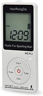Digital Media Players HRD-602 Digital Display FM AM Mini Sports Radio with Step Counting Function (Black) (Color : White)