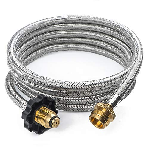 GASPRO 10FT Stainless Braided Propane Hose Adapter 1lb to 20lb for Buddy Heater,Coleman Stove,Portable Grill
