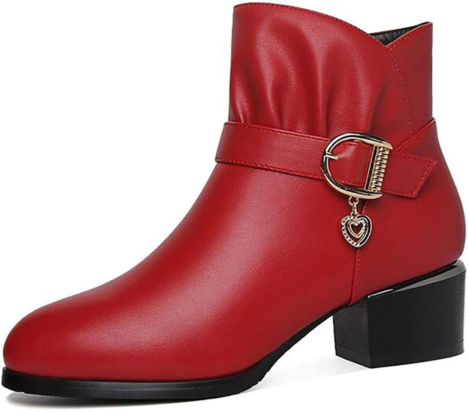 Women's shoes Chunky Heel Boots Autumn and Winter New Versatile Leather shoes (color   A, Size   34)