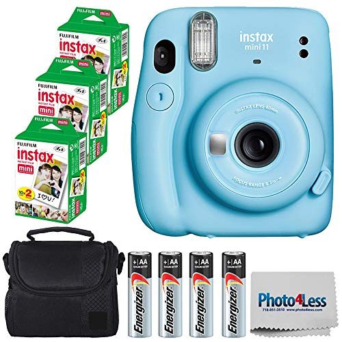 Fujifilm Instax Mini 11 Instant Camera - Sky Blue (16654762) + 3x Packs Fujifilm Instax Mini Twin Pack Instant Film + Batteries + Case - Instant Camera Bundle