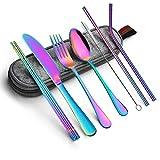 Portable Utensils Silverware Flatware set 8-Piece Cutlery set including Knife Fork Spoon Chopsticks...