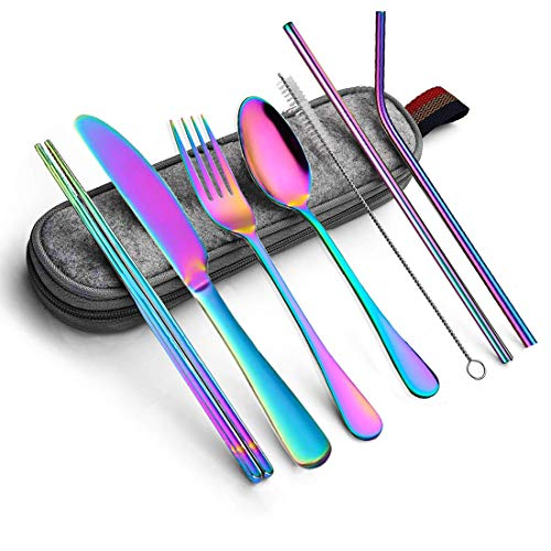 Portable Utensils Silverware Flatware set 8-Piece Cutlery set including Knife Fork Spoon Chopsticks Straws Portable bag for Travel Work Camping Picnic Stainless steel Utensil set (Rainbow Full)