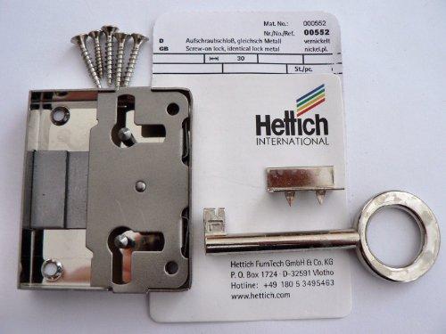 Hettich Aufschraubschloß gleichschließend vernickelt, Dornmaß: 30 mm, 1 Stück, Artikelnr. 552