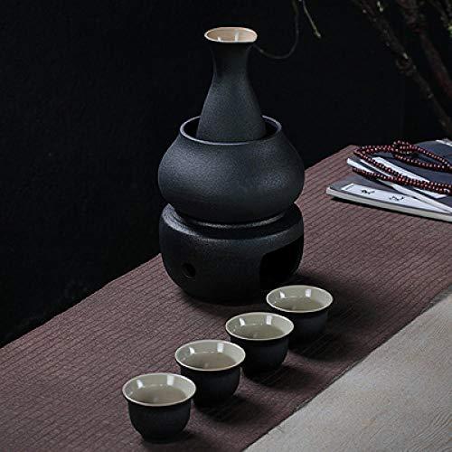 IKJN Juego De Sake Japones Jarra De Vino Caliente De Cerámica, Juego De Vino Dispensador De Vino Caliente De Calentamiento, Negro 250Ml