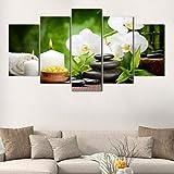 pbbzl 5 Panneaux HD Imprimer Moderne Orchidée Spa Pierre Bambou Bougies Peinture À l'huile sur Toile Art Affiche Mur Art Photo pour Salon-20X35Cmx2,20X45Cmx2,20X55Cmx1