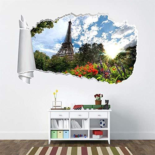 Wandtattoo Eiffelturm 3d zerrissenes Loch Wandaufkleber Aufkleber Home Decoration Art 50 * 70cm