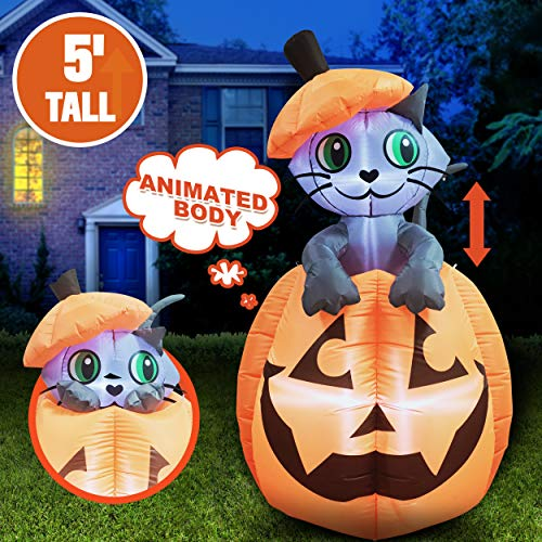 5 ft Tall Halloween Inflatable Animated Kitty Cat On Pumpkin Inflatable Yard Decoration with Build-in LEDs Blow Up Inflatables for Halloween Party Indoor, Outdoor, Yard, Garden, Lawn Decorations