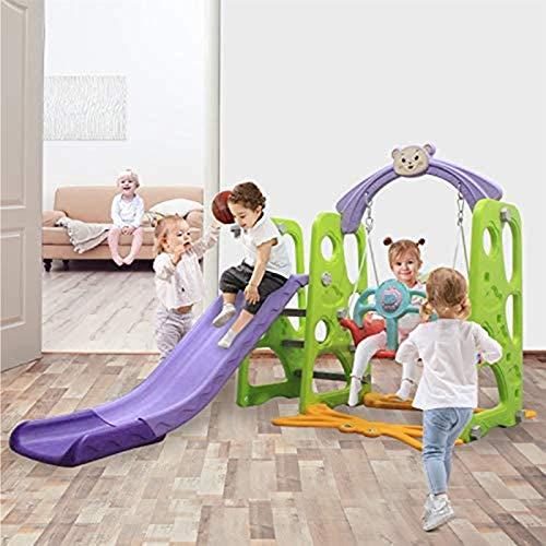 Muyuuu 3 en 1 Toboga de escaladores Playset, juego de deslizamiento de escalador al aire libre en interiores con aro de baloncesto, escaleras de escalera fácil, niños juego escalador diapositiva plays