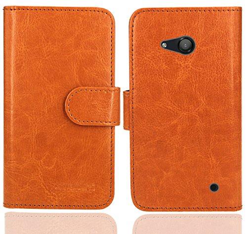 FoneExpert® Microsoft Lumia 550 Handy Tasche, Wallet Hülle Flip Cover Hüllen Etui Ledertasche Lederhülle Premium Schutzhülle für Microsoft Lumia 550 (Wallet Orange)