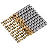 Hartmetall Titanium Coated Schaftfräser Doppel-Fräser Cnc-Rotary Grate Set 3.175mm Schaft 2mm Schneidkante Durchmesser