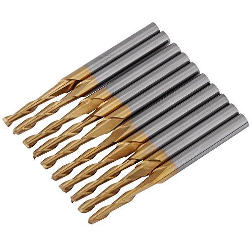Fresa in titanio rivestita di carburo di tungsteno Fresa a doppio tagliente Frese rotative CNC Set 3.175mm Gambo Diametro tagliente da 2 mm