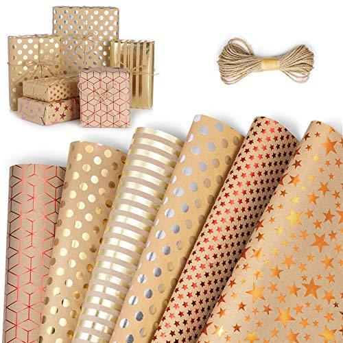 ZWOOS Weihnachtsgeschenkpapier, 6 Blatt Geschenkpapier Kinder Geschenkpapier Kraftpapier Geburtstag Geschenkpapier Gold Edel für Urlaub, Geburtstag, Hochzeit, Weihnachten, Geschenk (70 * 50cm)