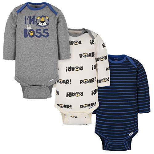 Gerber Baby Boys' 3-Pack Long-Sleeve Onesies Bodysuit, Boss Blue, 3-6 Months