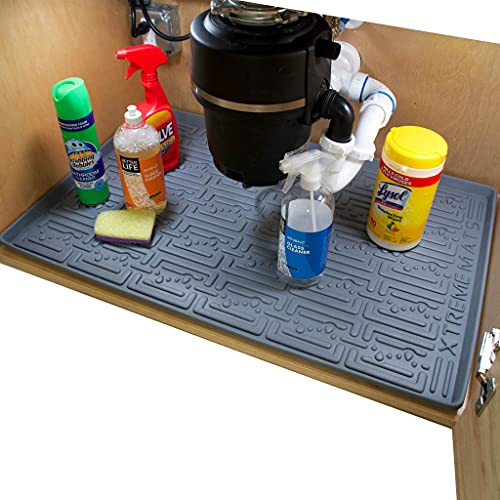 Xtreme Mats Under Sink Kitchen Cabinet Mat, Pick Your Size, 31' 1/4 x 22 1/4, Waterproof Cabinet Protector & Drip Tray Liner, CM-33-GREY