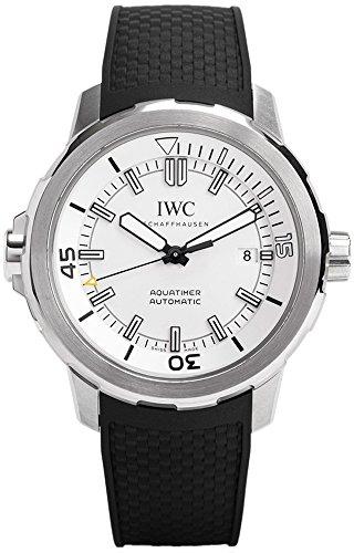 IWC Aquatimer IW329003 Herren-Armbanduhr mit silberfarbenem Zifferblatt, schwarzes Gummi