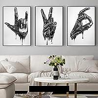 抽象黒彫刻ジェスチャ言語アートキャンバス絵画壁アートポスタープリント壁の写真リビングルームホームクアドロス-30x50cmx3フレームなし