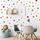 192 Stück Polka Dots mit Sternen Wandtattoo | Bunte Punkte Kinderzimmer Wandsticker | Kreise Pastell Wandsticker Wandaufkleber für Schlafzimmer Mädchen Klassenzimmer Babyzimmer Spielzimmer