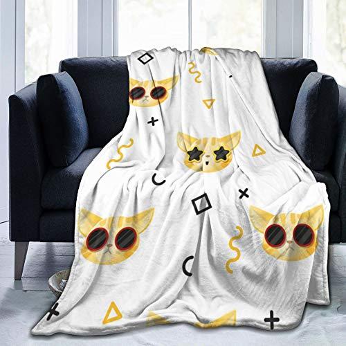 Animal-Pattern-Collection-With-Cat-- Manta térmica ultra suave de microforro polar para sofá cama
