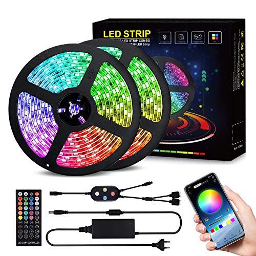 LED Streifen LED Strip, 10M LED Band 10M RGB SMD 5050 mit 40 Tasten Fernbedienung, 12V Netzteil, IP65 Wasserdicht für die Weihnachtsküche,TV-Bildschirm (RGB) inkl. Farbwechsel, selbstklebend