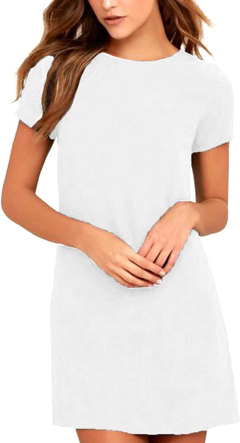 SUNNYME Summer Dresses for Women Casual Loose Solid Mini Dress Beach Swing Tunic Shift Dress