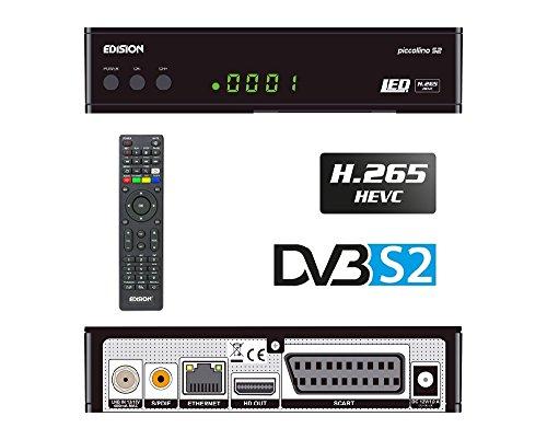 Edision Piccollino S2 - Receptor de satélite Full HD, H.265/HEVC, DVB-S & S2,  Tarjeta Lector USB, color Negro