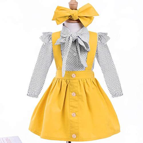 YOUNGER TREE 1-4 T Little Baby Girl Outfits Long Sleeve Shirt Overall Skirt Headband Set School Uniform Dress for Toddler
