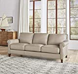 Hydeline Laguna 100% Leather Sofa Couch, Taupe