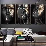 Impresiones artísticas carteles mujer africana negra y dorada lienzo pintura pared imágenes artísticas para la decoración del hogar de la sala de estar 50x80cmx3pcs sin marco