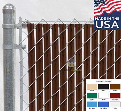Fence Source Wave Slat (9 Colors) Single Wall Bottom Locking Privacy Slat for 4', 5', 6', 7' and 8' Chain Link Fence (6 ft, Brown)
