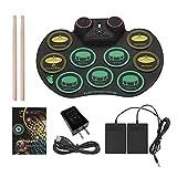 Qinmo Drum Pad electrónico, batería electrónica, con recargable del rollo del juego de batería Batería de Altavoz incorporado eléctrico del tambor Pad de práctica con pedales palillos for niños