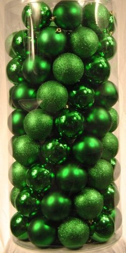 Queens of Christmas WL-ORNTUBE-60-GR 100 Pack Plastic Balls, 60mm, Green by Queens of Christmas
