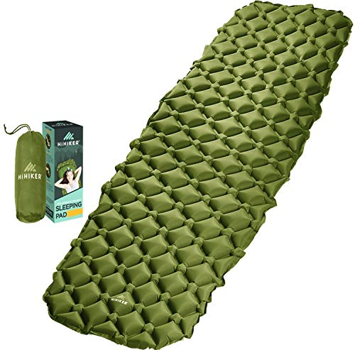 HiHiker Camping Sleeping Pad– Ultralight Backpacking Air Mattress w/Compact Carrying Bag –Sleeping Mat for Hiking Traveling & Outdoor Activities (Green)