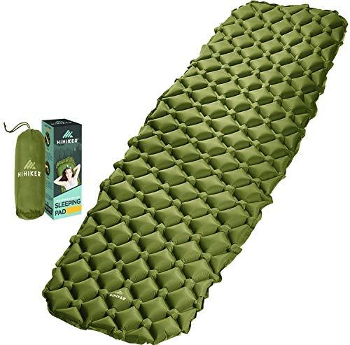 HiHiker Camping Sleeping Pad– Ultralight Backpacking Air Mattress w/Compact Carrying Bag –Sleeping Mat for Hiking Traveling & Outdoor Activities. (Green)