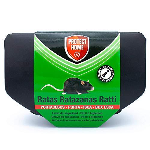 Portacebos para veneno de ratas y topillos con llave de seguridad, fácil e higiénico. Control de roedores.