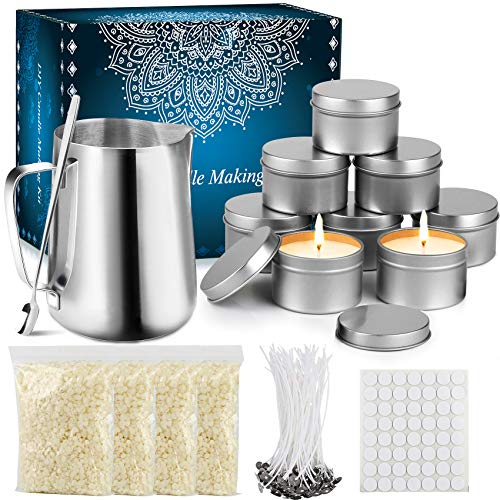 Tobeape DIY Candle Making Kit Supplies, Arts & Craft Tools Including Pouring Pot, 100 Cotton Wicks, Candle Wicks Holder, Beeswax, Spoon & Candles tins