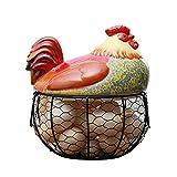 GAOLONG Egg Basket Storage Cucina Holder Filo Maglia Rack Uovo cestello portaoggetti Collezione con Ceramica Pollo Top Gallina Ornamenti Decorazioni,B