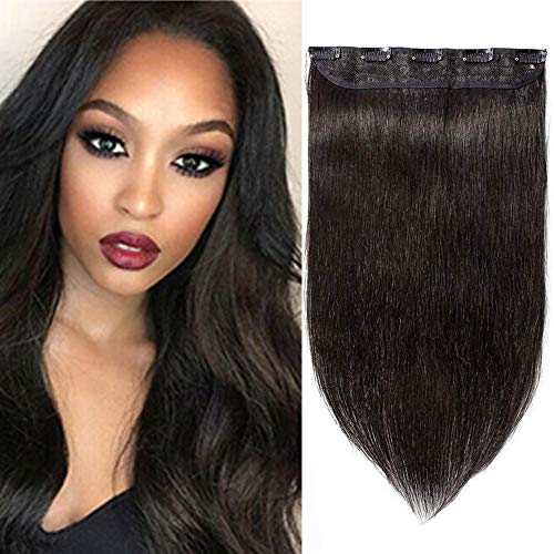 """24"""" Rajout Cheveux Monobande Extension Clip Human Hair Lisse Raide Une Pièce Extension de Cheveux A Clip - Noir Naturel"""