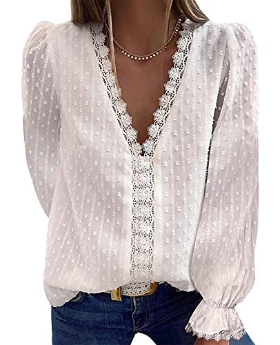 camicia donna elegante ABINGOO Blusa Magliette Donna Camicia a Maniche Lunghe Eleganti Scollo a V Pizzo Bluse T Shirt Tops