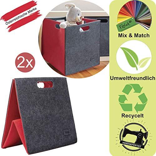 Regalkorb Kallax Filzbox Faltbar Filzkorb Kallax Aufbewahrungsbox Set 33x33x33cm mit 4 Griffen in 4 tollen Farbkombinationen