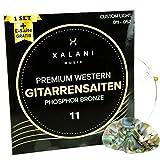 XALANI Gitarrensaiten Westerngitarre 011 I Bonus: 1 hohe E-Saite und 3 Plektren I Phosphor Bronze Saiten Set für Akustikgitarre
