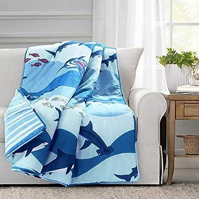 "Lush Decor, Blue Shark Allover Throw Blanket, 50"" x 60"""