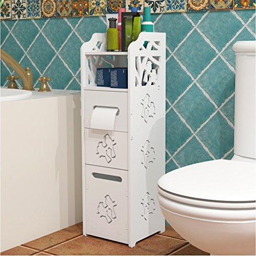 LUYIASI- Weißes wasserdichtes freistehendes dünnes Bad-Schrank mit Abfall-Dose-Gewebe-Zufuhr-Mehrzweck-PVC-Mikro-Schaum-Brett-Toiletten-seitlicher Schrank-Bad-Eck-Schrank-Zahnstange Bathroom Racks