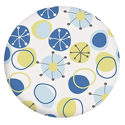 Mantel ajustable de poliéster con bordes elásticos, diseño floral abstracto, para mesas redondas de 24 pulgadas, para primavera, verano, fiesta, picnic, amarillo claro, gris, azul