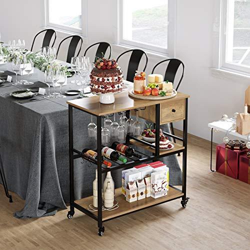 HOMECHO Küchenregal auf Rollen Servierwagen mit 3 Ablagen Mikrowellenregal mit 1 Schublade Küchenwagen Rollwagen Metall BHT ca.80 x 87,5 x 40cm