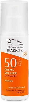 Algamaris Crème Solaire Visage Spf50 Certifiée Bio, Haute Protection Solaire Naturelle, Formule Non Grasse, Hydratante, Matifiante- 50ml
