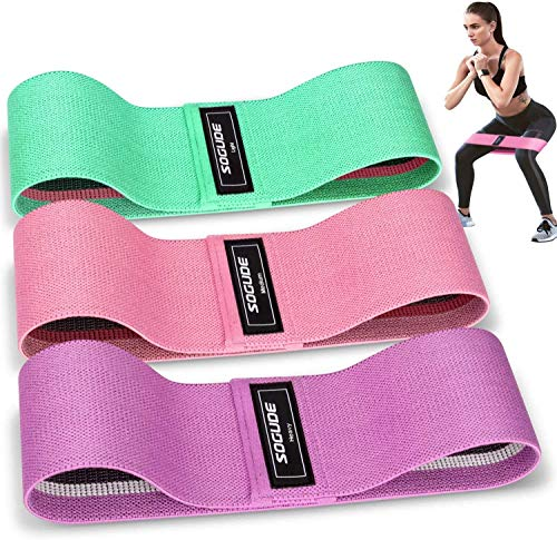 Resistance Bands - Fabric Fitness Bands Set for Legs and Hip Non-Slip Resistance Bands Tensile Strength - 3 Pieces Booty Band with 1.5 m Rubber Band for Strength Training, Muscle Building