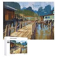 夏の漁村 500ピースのパズル木製パズル大人の贈り物子供の誕生日プレゼント1000ピースのパズル